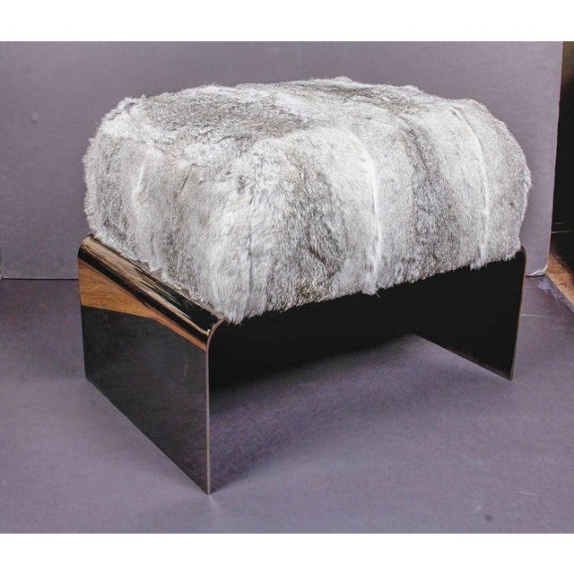 Black Luxurious Mid-Century Modern Style Lapin Fur Ottoman Stool With Black Chrome Base For Sale - Image 8 of 9
