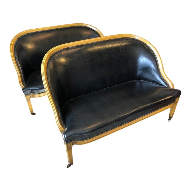 Pair of English Library Fruitwood and Faux Black Leather Loveseats For Sale