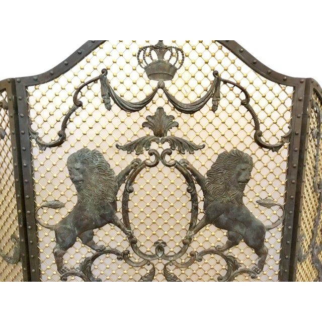 Traditional Maitland-Smith Traditional Large Iron Fire Screen For Sale - Image 3 of 6