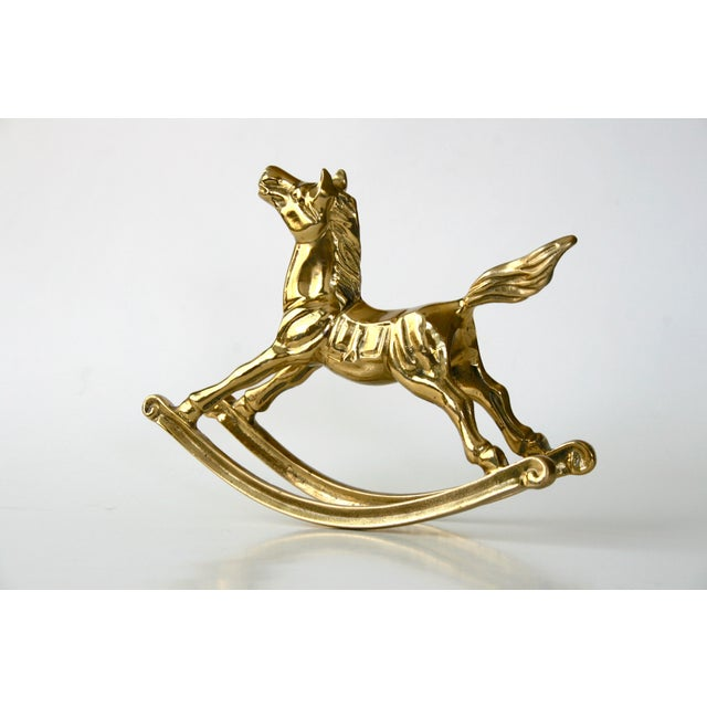 1960s Mid-Century Modern Brass Rocking Horse Figurine For Sale In Seattle - Image 6 of 10