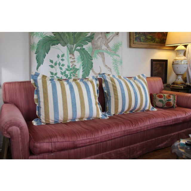 Contemporary Contemporary Striped Silk DownContemporary Striped Silk Down Pillows - a Pair For Sale - Image 3 of 13