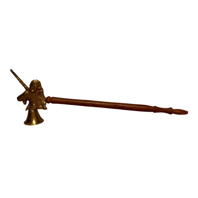 1990s Vintage Brass & Wood Unicorn Candle Snuffer For Sale