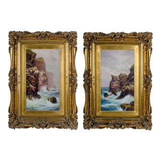 Alexander Mortimer Rocky Coastal Views Oil Paintings - a Pair For Sale