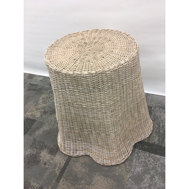 Hollywood Regency Vintage Draped Wicker Center Table For Sale - Image 3 of 11