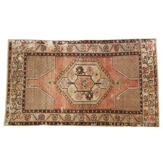 "Vintage Distressed Oushak Rug - 3' X 5'4"" For Sale"
