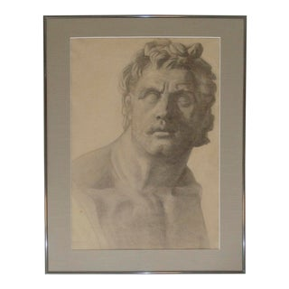 Classical Bust Sculpture Charcoal Drawing, C. 1915 For Sale