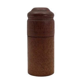 Turned Cylindrical Wooden Box With Dark Finish and Rounded Lid For Sale