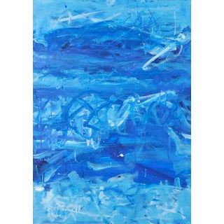 """""""Blue Upon Blue"""" Contemporary Minimalist Monochromatic Acrylic Painting For Sale"""