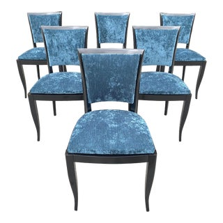Classic Set of 6 French Art Deco Dining Chairs 1940s For Sale