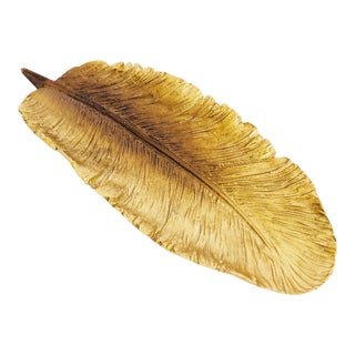 Vintage Gold Feather Ring Dish For Sale