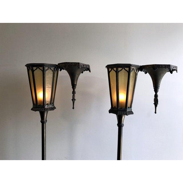 Oscar Bach Oscar B Bach Gothic Bronze Floor Lamps - A Pair For Sale - Image 4 of 11
