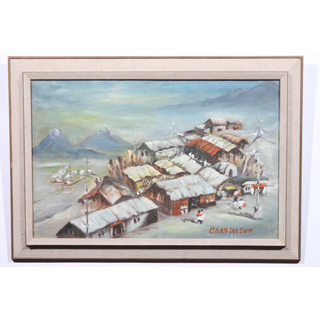 Huddled Village, oil painting impression on board signed lower right corner Chan Tan Swn, and displayed in wood frame with...