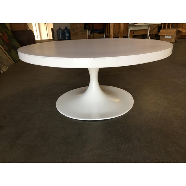"""1950s Heavy Top 36"""" Inch Tulip Coffee Table in the Saarinen/Knoll Style For Sale - Image 5 of 10"""