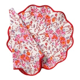 Pink Floral Scalloped Placemats and Napkins - Service for 4 For Sale