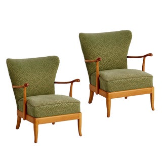 Pair of Maple Lounge Chairs W/ Original Upholstery Circa 1940s