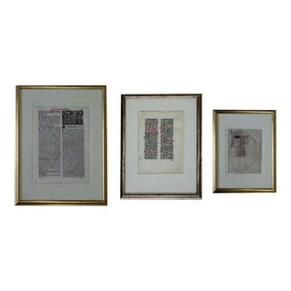 Antique Framed Italy Missal Romanian 15th 17th Century BrieCalendar - Set of 3 For Sale