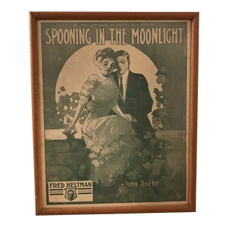 "Vintage Framed ""Spooning in the Moonlight"" Print"