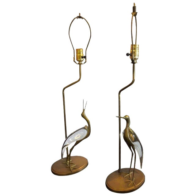 Art Deco Crane Bird Brass With Glass Body Table Lamps - a Pair For Sale