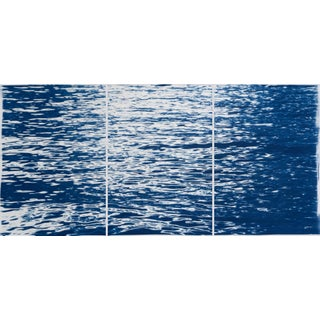 2020 Nautical Moonlight Ripples Over Lake Nocturnal Seascape Original Cyanotype Triptych on Watercolor Paper For Sale