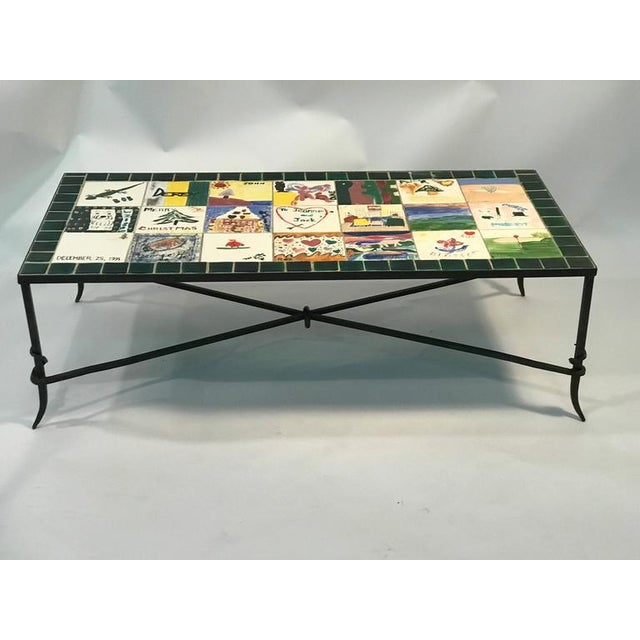 Modern WHIMSICAL CERAMIC TILE TOP COFFEE TABLE WITH HAND-PAINTED NOSTALGIC SCENES For Sale - Image 3 of 8