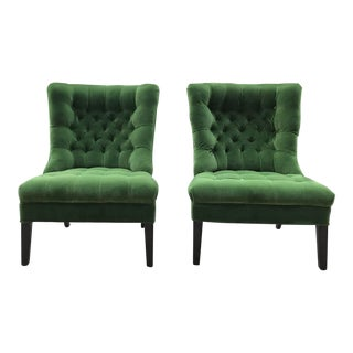 1950s Vintage Tufted Armless Slipper Chairs- A Pair For Sale