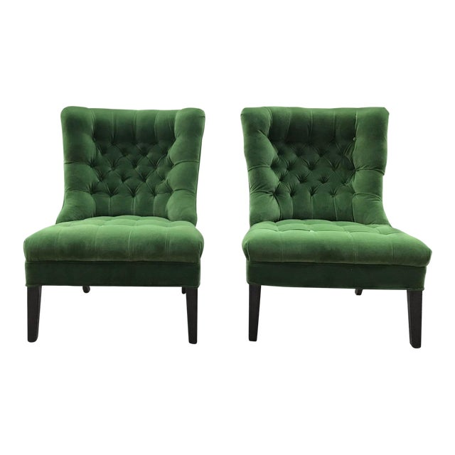 Designers Guild Velvet 1950s Vintage Tufted Armless Slipper Chairs- a Pair For Sale