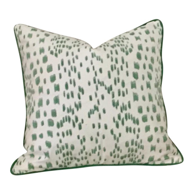 Brunschwig & Fils Les Touches Green and Ivory Pillow Cover For Sale