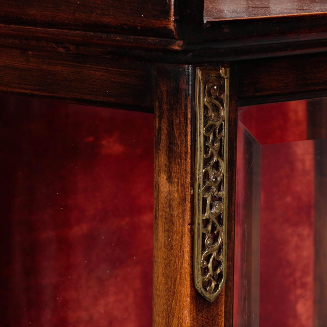 Asian Tall Narrow Chinese Carved Wood Vitrine Display Cabinet For Sale - Image 3 of 11