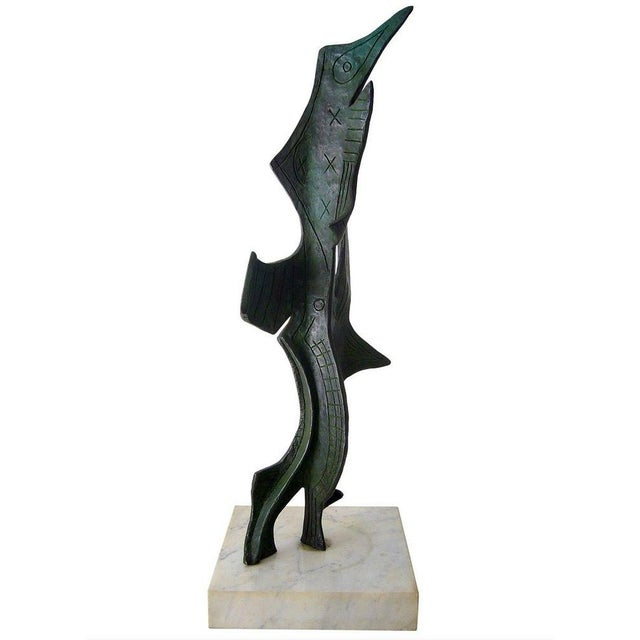 Mid 20th Century 1950s Surrealist Modern Patinated Bronze on Marble Base Sculpture For Sale - Image 5 of 5