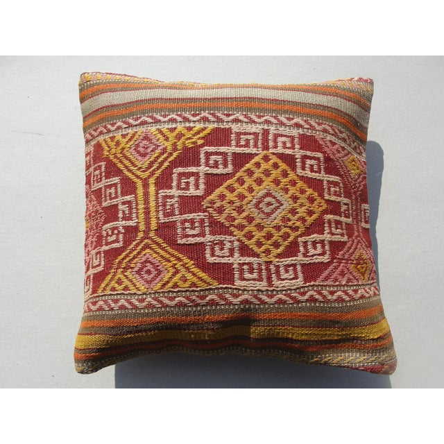 """Kilim Rug Pillow Made from old turkish kilims Back side cotton and has closed with a solid hidden zipper size:16"""" x 16"""" It..."""