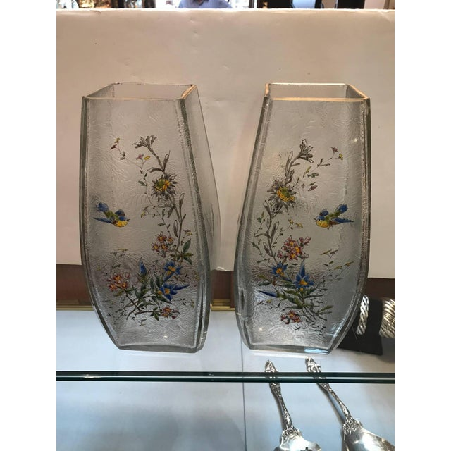 19th Century French Hand Enameled Mont Joye Vases- A Pair For Sale - Image 9 of 10