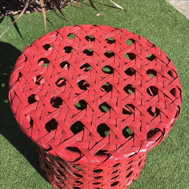 Palecek Woven Red Side Table - Image 6 of 8