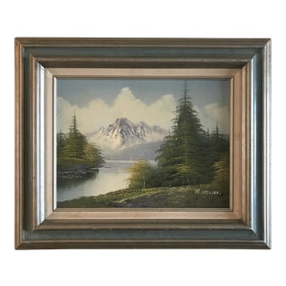 1970s Realism Oil Painting, Mountains and Forest Landscape by R Delino For Sale