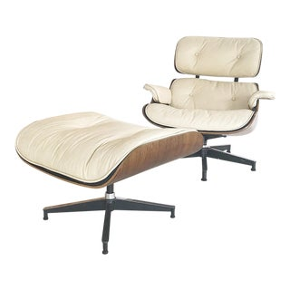 1960s Vintage Herman Miller for Eames Custom Leather Lounge Chair & Stool - 2 Pieces