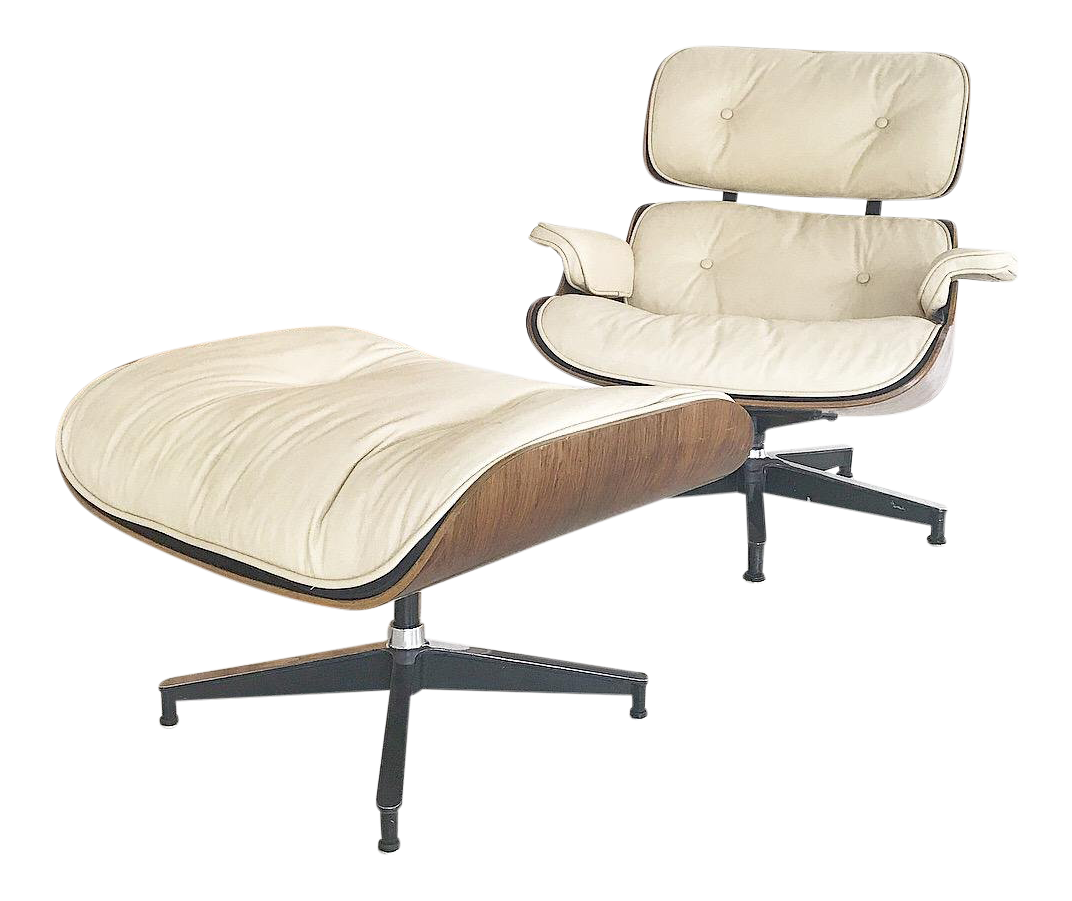 1960s Vintage Herman Miller For Eames Custom Leather Lounge Chair U0026 Stool    2 Pieces