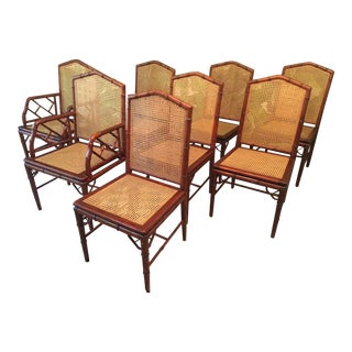 Set of Eight Faux Bamboo and Cane Dining Chairs by Designs Ligna For Sale