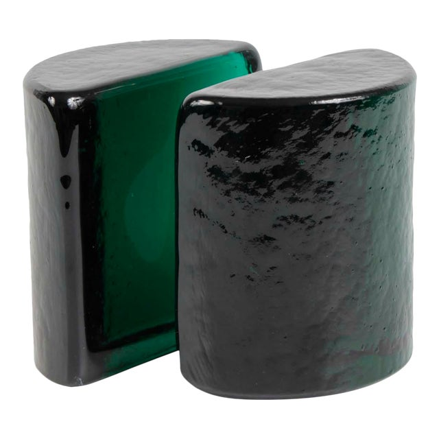 Blenko Emerald Green Solid Glass Bookends For Sale