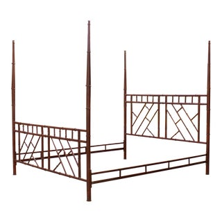 Vintage Chippendale Iron Bamboo Fretwork King 4 Poster Canopy Bedframe For Sale