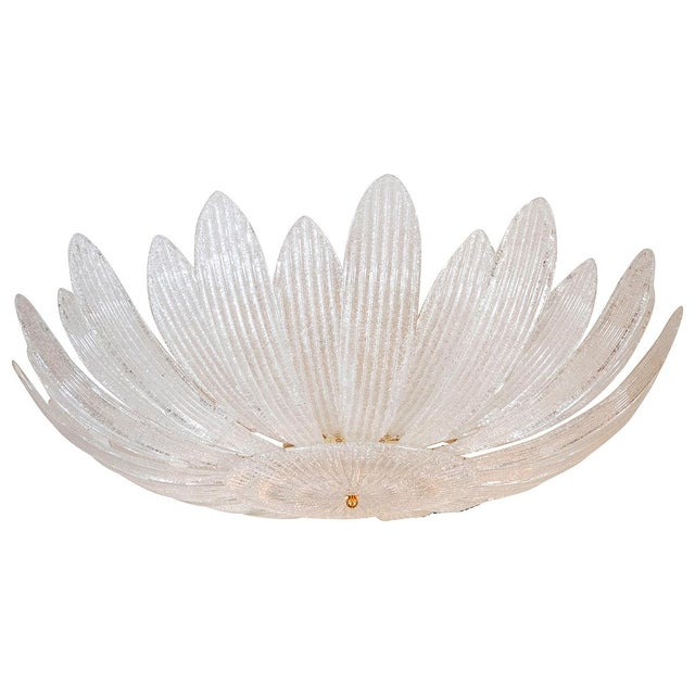 1980s Textured Glass Foliate Form Chandelier For Sale - Image 5 of 5