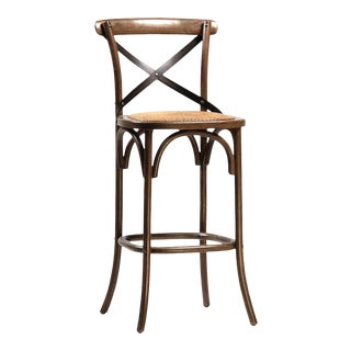 Rattan Seat Oak Bar Stool For Sale