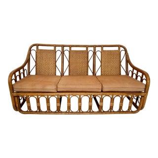 Vintage Rattan and Woven Panel Sofa For Sale