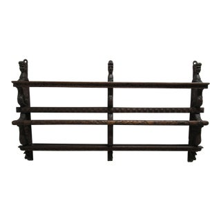Italian Figural Carved Hand Plate Rack For Sale