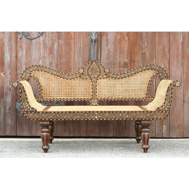 Anglo-Indian Majestic Royal Bone Inlay Settee Bench For Sale - Image 3 of 10