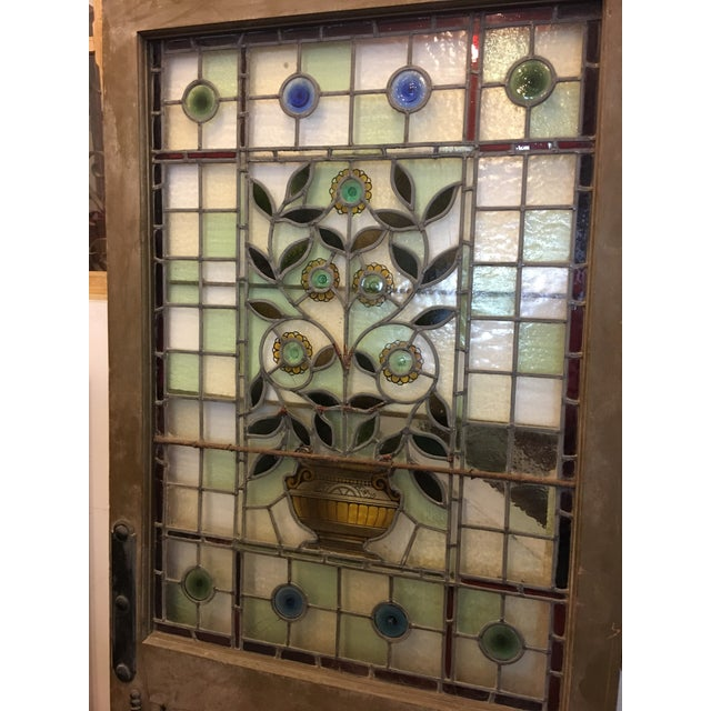 1920s Beautiful 1920's English Stained Glass Door For Sale - Image 5 of 11