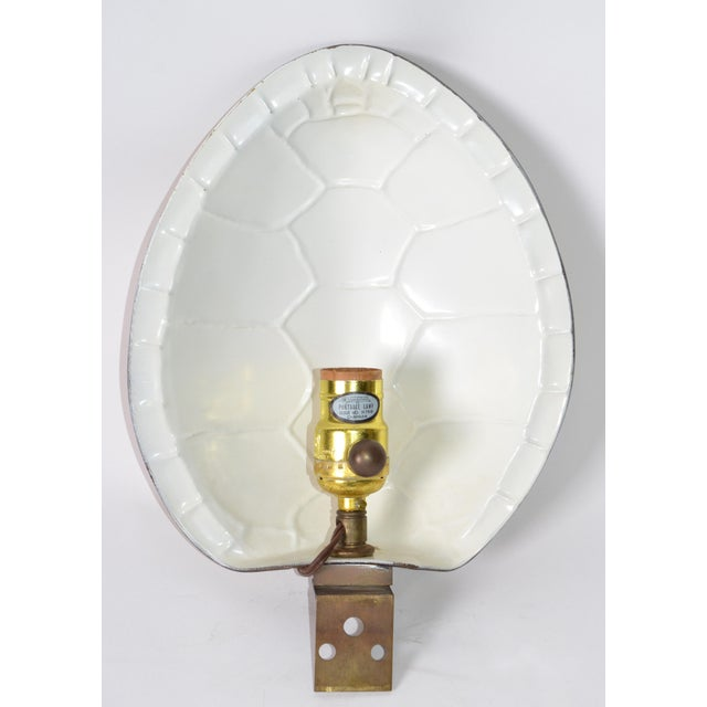 Chapman Polished Brass & White Enamel Tortoise Shell Sconce, Wall Light, Usa 70s For Sale - Image 10 of 13