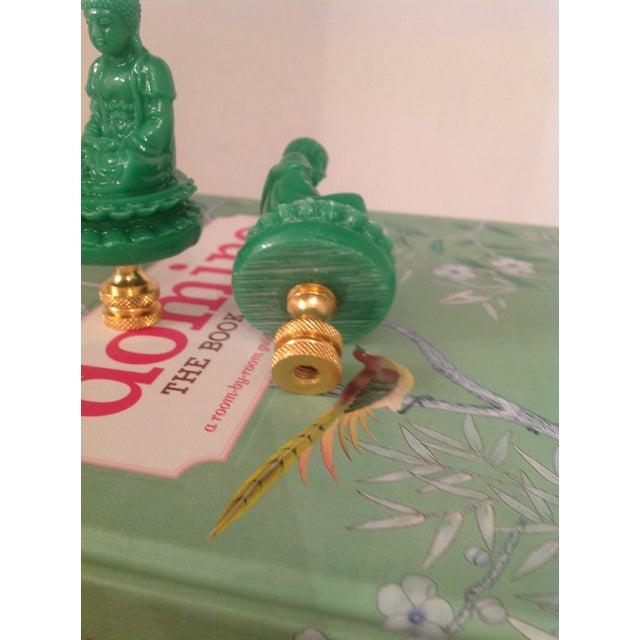 Green Chinese Buddha Shaped Lamp Finials - a Pair - Image 3 of 4