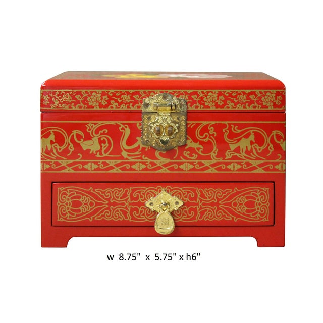Wood Chinese Oriental Lacquer Mirror Jewelry Chest Box For Sale - Image 7 of 7
