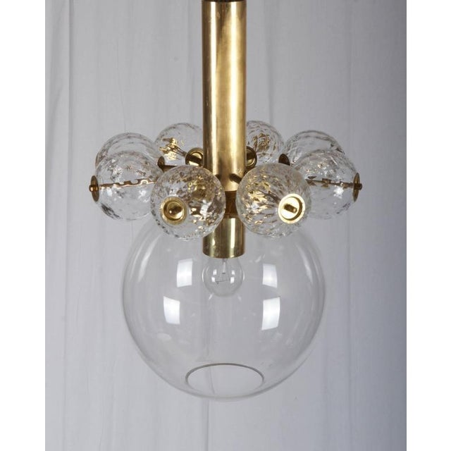Mid-Century Modern Brass & Glass Hanging Lamp by Kamenicky Senov For Sale - Image 3 of 4