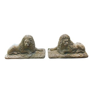Edwardian Cast Stone Lions - a Pair For Sale