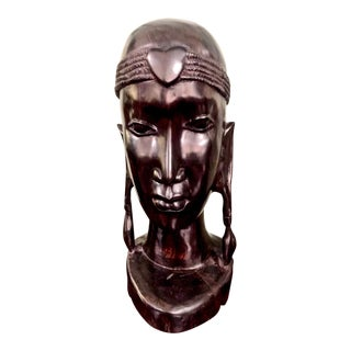 African Carved Ebony Male Bust For Sale